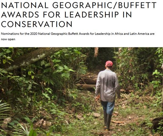 National Geographic Buffett Awards for Leadership in Conservation 2020