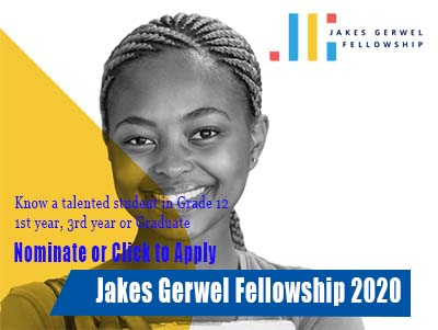 Jakes Gerwel Fellowship 2020 for Youngs School Students and Graduates