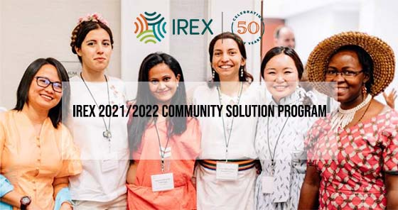 IREX 2021/2022 Community Solution Program For Young Leaders and Professionals